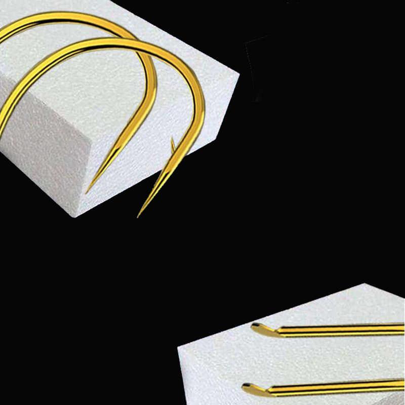 100 قطعة عالية الكربون الصلب الذهبي الصيد هوك حجم 1 #2 #3 #4 #5 #6 #7 #8 #9 #10 #11 #12 # فيش السنانير حزمة الكارب الصيد معالجة