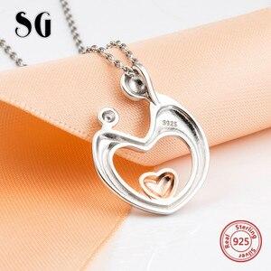 Image 4 - SG 925 ayar gümüş anne çocuk kolye el kalp şekilli kolye kolye aşk aile moda takı hediye