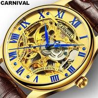 Karnawał Złoty Zegarek Ze stali Nierdzewnej Hollow perspektywa Projekt Męskie Sportowe AAA Zegarki Top Marka Luksusowe Automatyczne Zegarek Mechaniczny