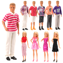 New Handmade 10 Items/Set=5 Clothes For Ken Random +3 Doll Dress +2 Doll Shoes Accessories For Barbie Ken Best Christmas Gift 12 items 6 random wedding party gown dress clothes 6 necklace accessories for barbie doll fr kurhn kids toys christmas gift