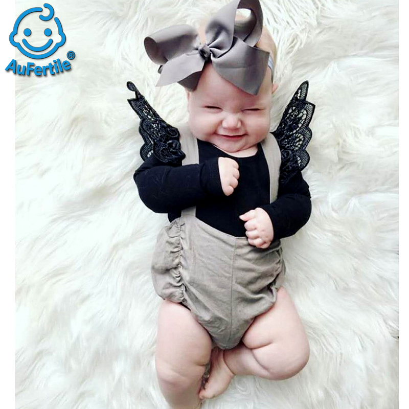 Lace Solid Color Small Wings Spring Summer Infant Romper Clothes Long Sleeves Jumpsuit Newborn Clothing Baby Rompers Clothing orangemom brand summer spring baby romper long sleeves 100