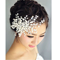Handmade Headdress with Pearl Wedding Tiara Comb Bride Pearl Hair dinner Party for Women SG065