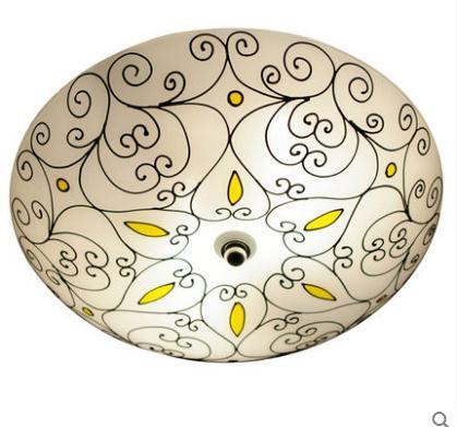 все цены на 16inch Mediterranean Bohemia Flower Vine Pastoral Ceiling Light Round Glass Lampshade lamparas de techo abajur