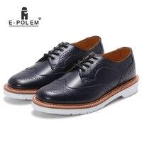 Vintage Dark Navy Blue Men S Dress Leather Shoes Retro White Sole Low Upper Martin Shoes