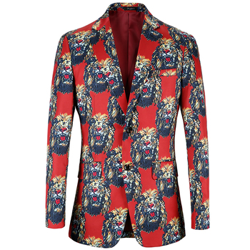 Lion printing Blazer Men 2020 Brand Clothing Shawl Collar Casual Suit Jacket Stage Costumes Popular design Mens Casual Blazers