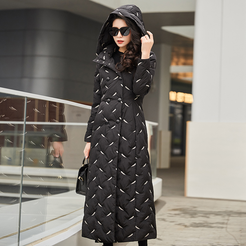 Elegant Black Embroidered Winter Women Jacket Detachable Hooded Stand Collar Double-breasted Long Down Coat Parka Female Outwear