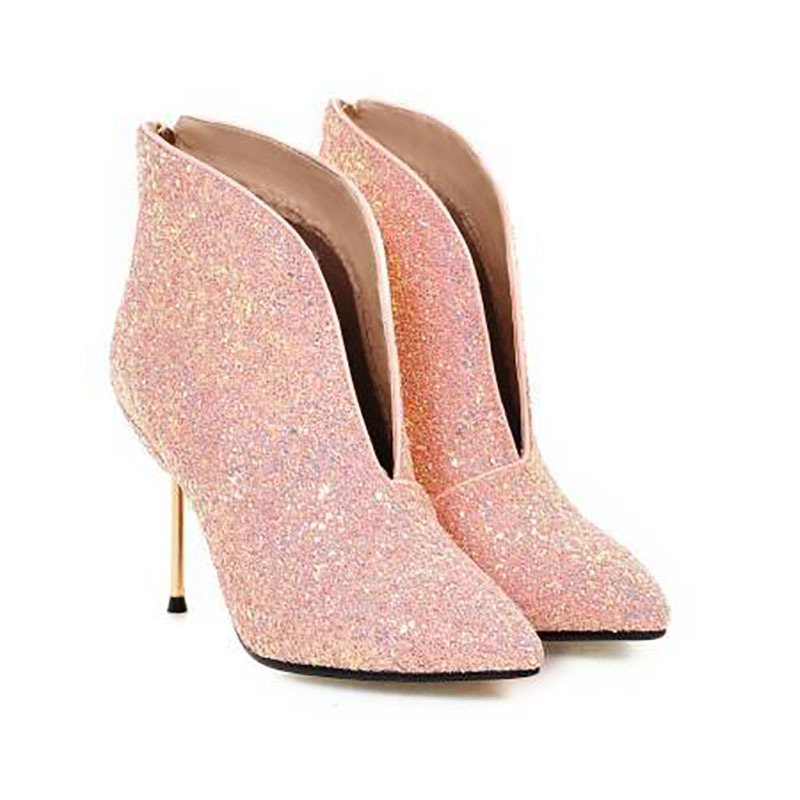 Ankle Women Boots Winter High Hees Shoes Woman Bling Shiny Zip Pointed Toe Sexy Wedding Party Short Shoes Female Big Size 34 43 Ankle Women Boots Winter High Hees Shoes Woman Bling Shiny Zip Pointed Toe Sexy Wedding Party Short Shoes Female Big Size 34 43