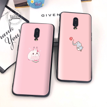 Cute Rabbit For Case Oneplus 6T 7 Black Phone Cover Elephant for Funda Cases Capa