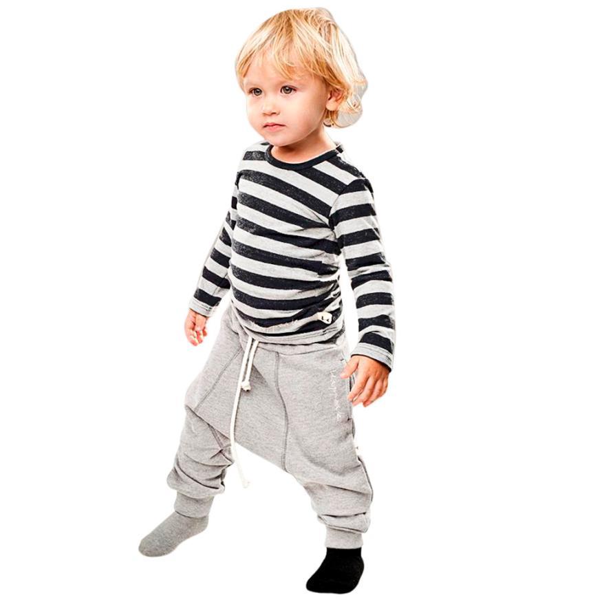 Mooistar2 #5075 малыш Обувь для мальчиков одежда в полоску Футболка с длинными рукавами Топы Корректирующие + шаровары Брюки для девочек 1 компл.