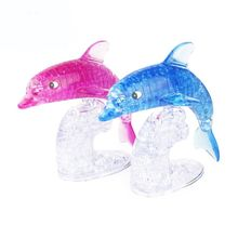 DIY Crystal Dolphin 3D Puzzle Jigsaw For Children Kids Intellectual Assembled Puzzles Toy Birthday Gift цена
