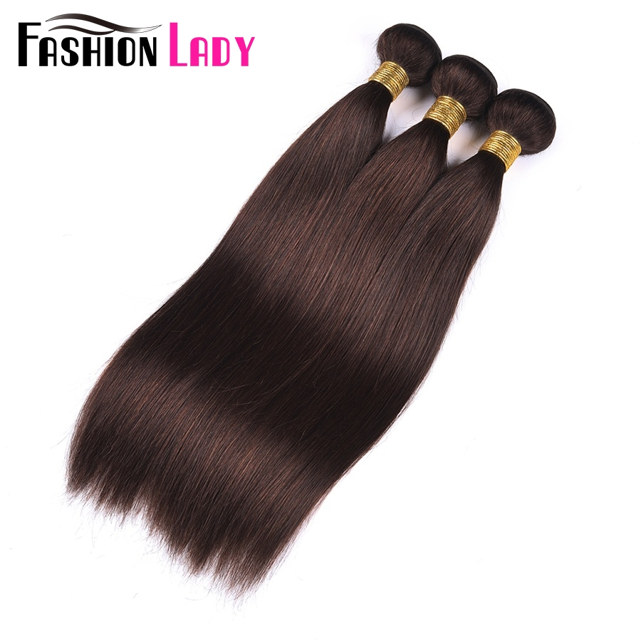 FASHION LADY Pre-Colored Brazilian Hair Weave Bundles Straight Dark Brown 2# Human Hair Bundles 1/3/4 Bundle Per Straight NoRemy