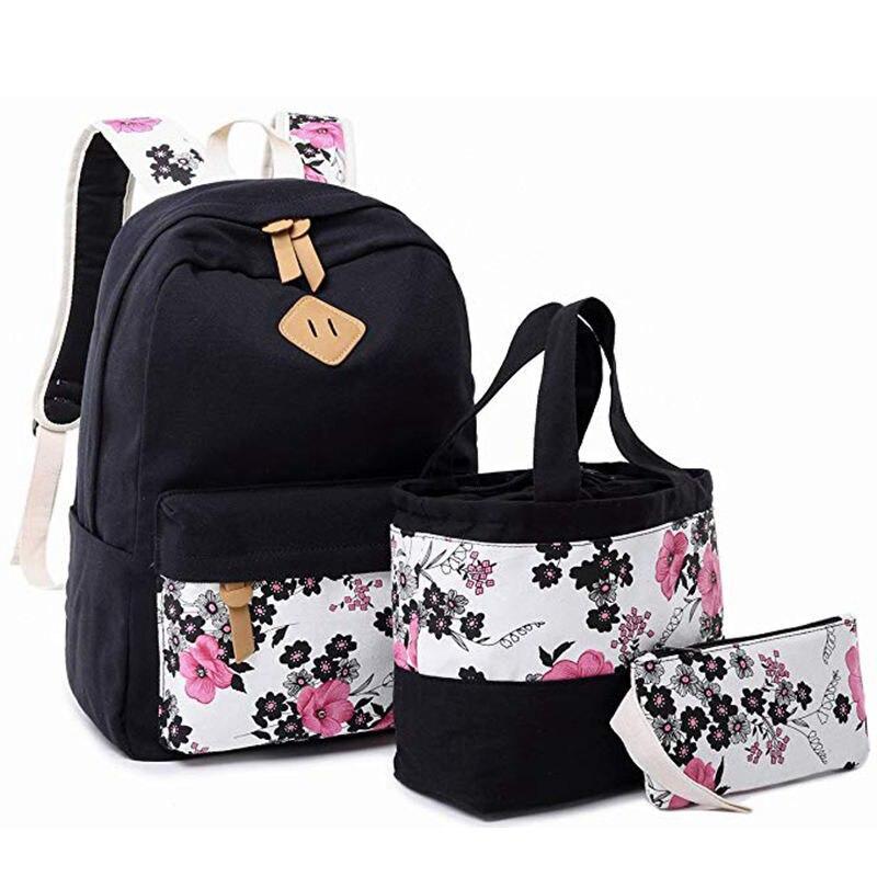 3pcs/set Student Canvas Bookbag Backpack For School Girls Kids School Bag Teens Bookbag Set Water Resistant 15