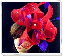 Envío libre tocados rojos con púrpura decoración de plumas, sombreros sinamay del fascinator de alta calidad, grandes sombreros de copas, MSF126