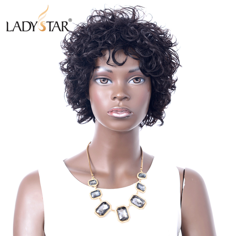 LADYSTAR Brazilian Afro Kinky Curly Hair Short Human Hair Wigs For Black Women Remy Hair Wigs