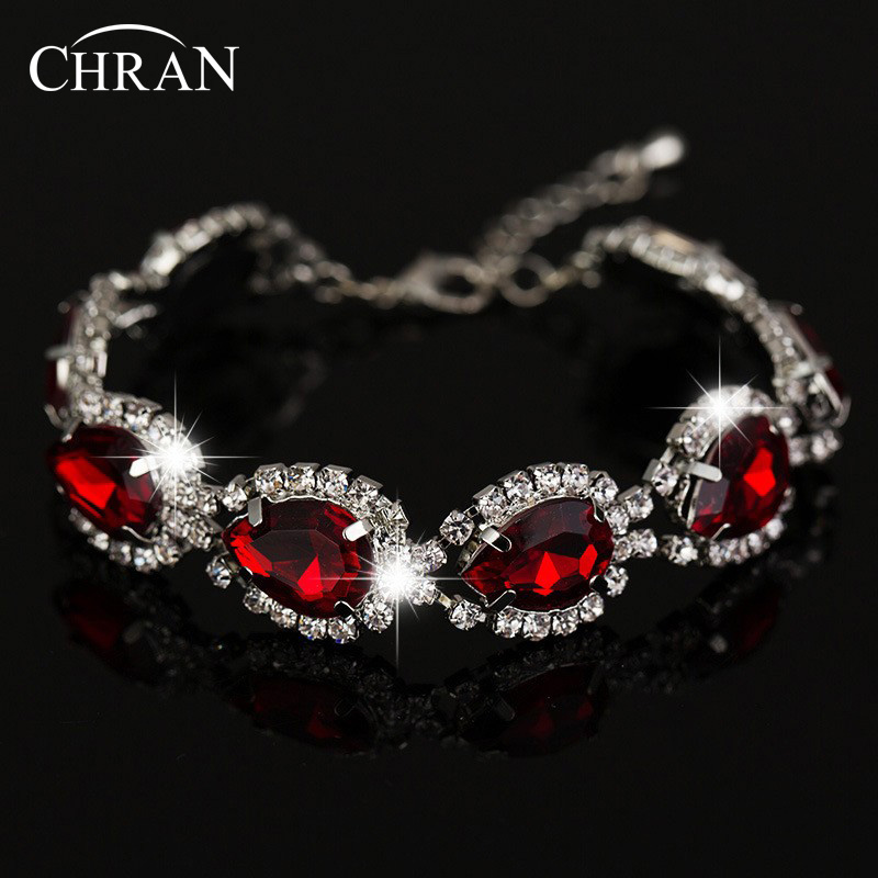 Chran Wedding Bracelets Bangles Vintage Crystal Red Silver Bracelet Jewelry With Rhinestone For Women Lady 2016 In Chain Link From