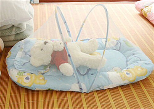 Hot Folding Baby Bed Portable Crib Mosquito Net Infant Cushion Mattress Pillow Blue Pink Cama Infantil In Netting From Mother