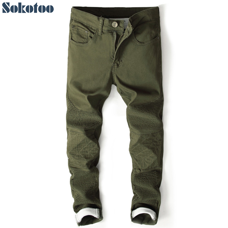 Sokotoo Men's slim fit patchwork pleated pencil denim   jeans   Casual army gree khaki red pants