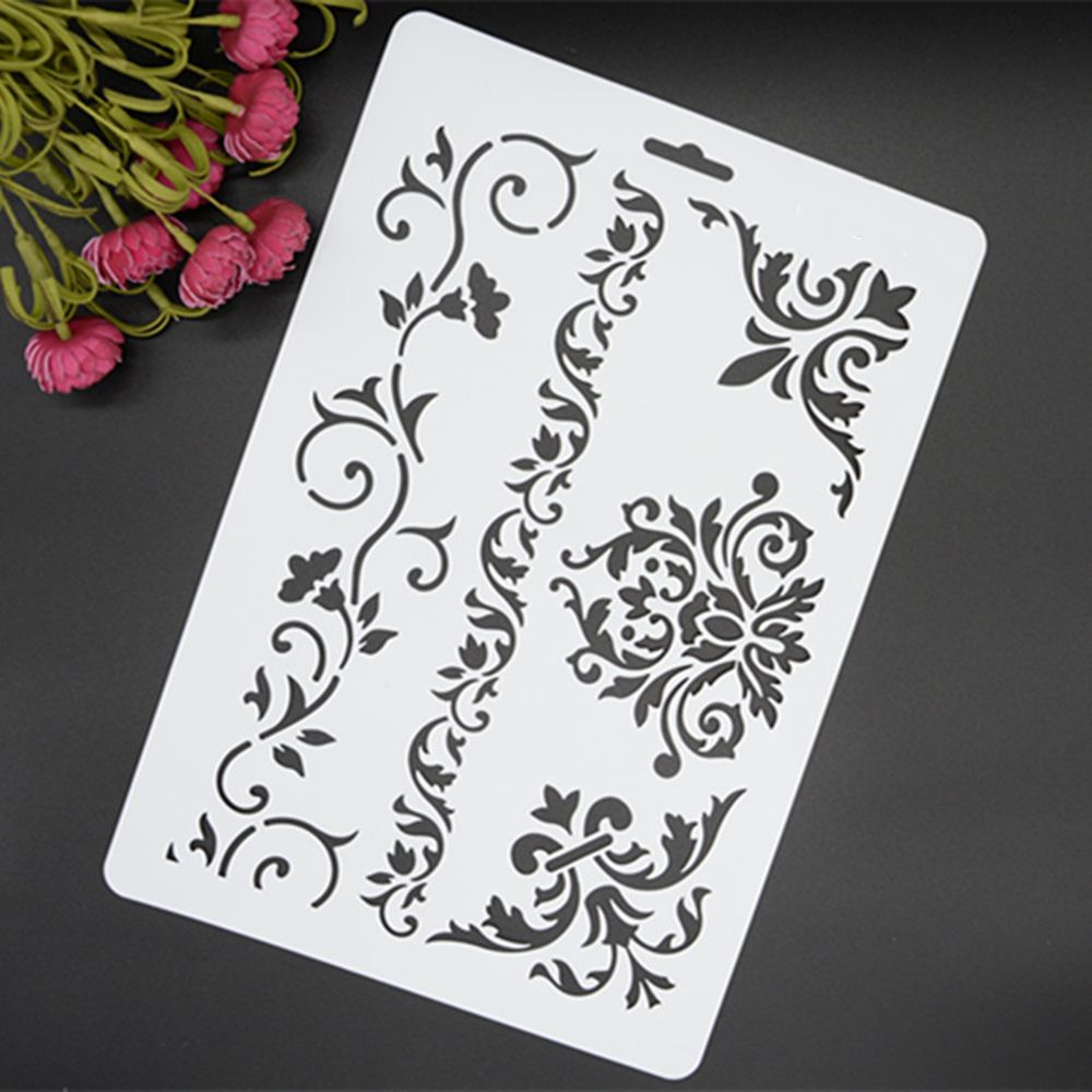 DIY Vine Flower Layering Stencils Walls Painting Scrapbook Embossing Paper Album Photo Decoration Paper Card Craft