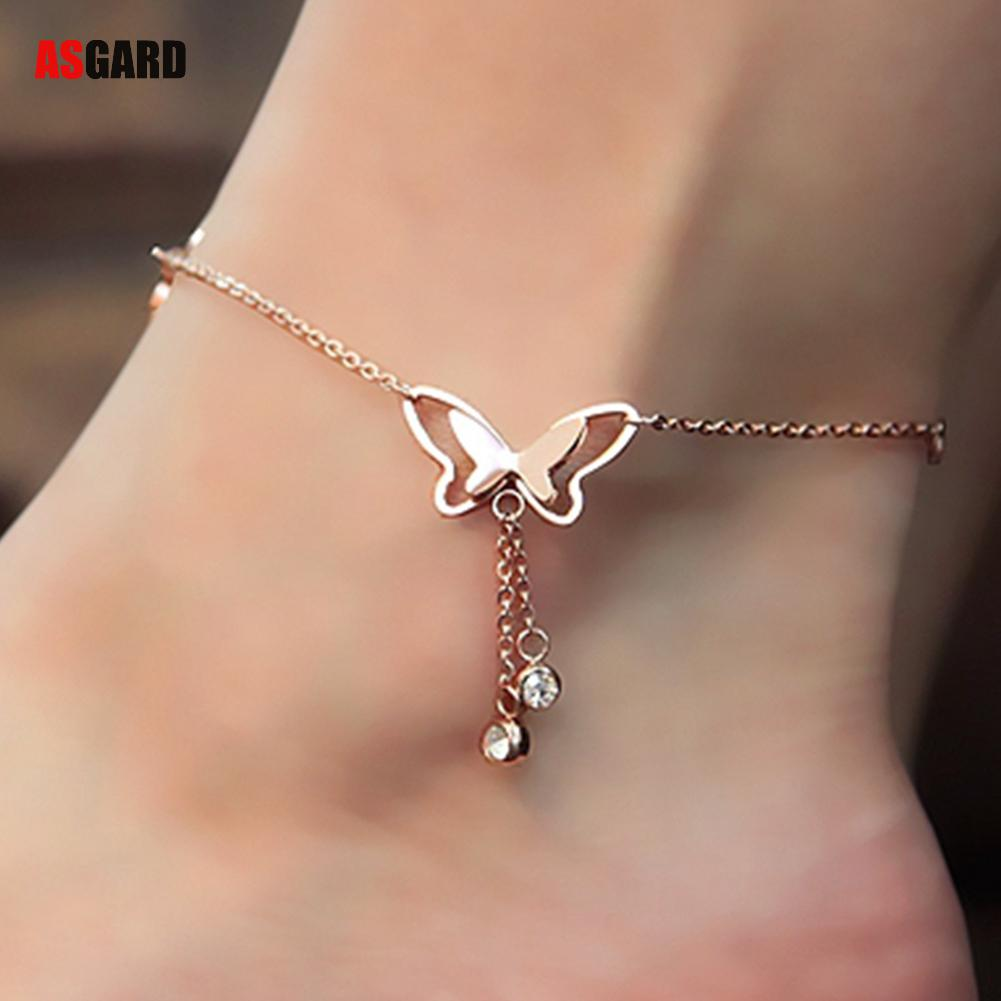ASGARD Tassel Anklets Casual Beach Vacation Anklets Bracelets Jewelry Ankle Chain New Butterfly Single Rose Gold Anklet