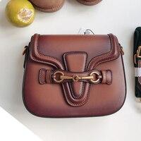 koraba Brand Logo Fashion Show Women's Famous Designer Saddle Shoulder Bag Handbag Crossbody For Women Genuine Leather Bags