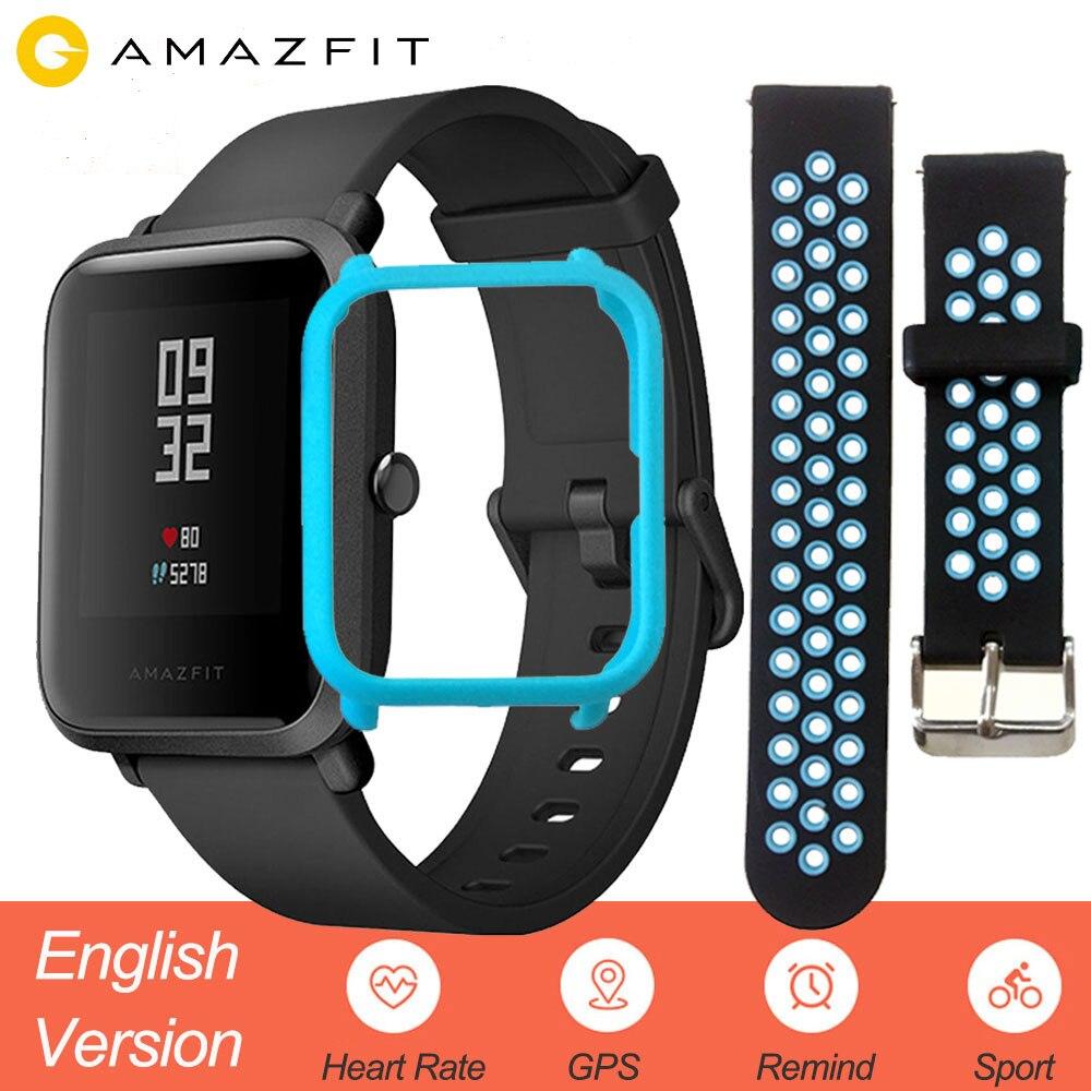 La versión en inglés de Xiao mi Amazfit Bip inteligente reloj de los hombres Hua mi ritmo Smartwatch Android iOS Monitor de ritmo cardíaco 45 días de batería