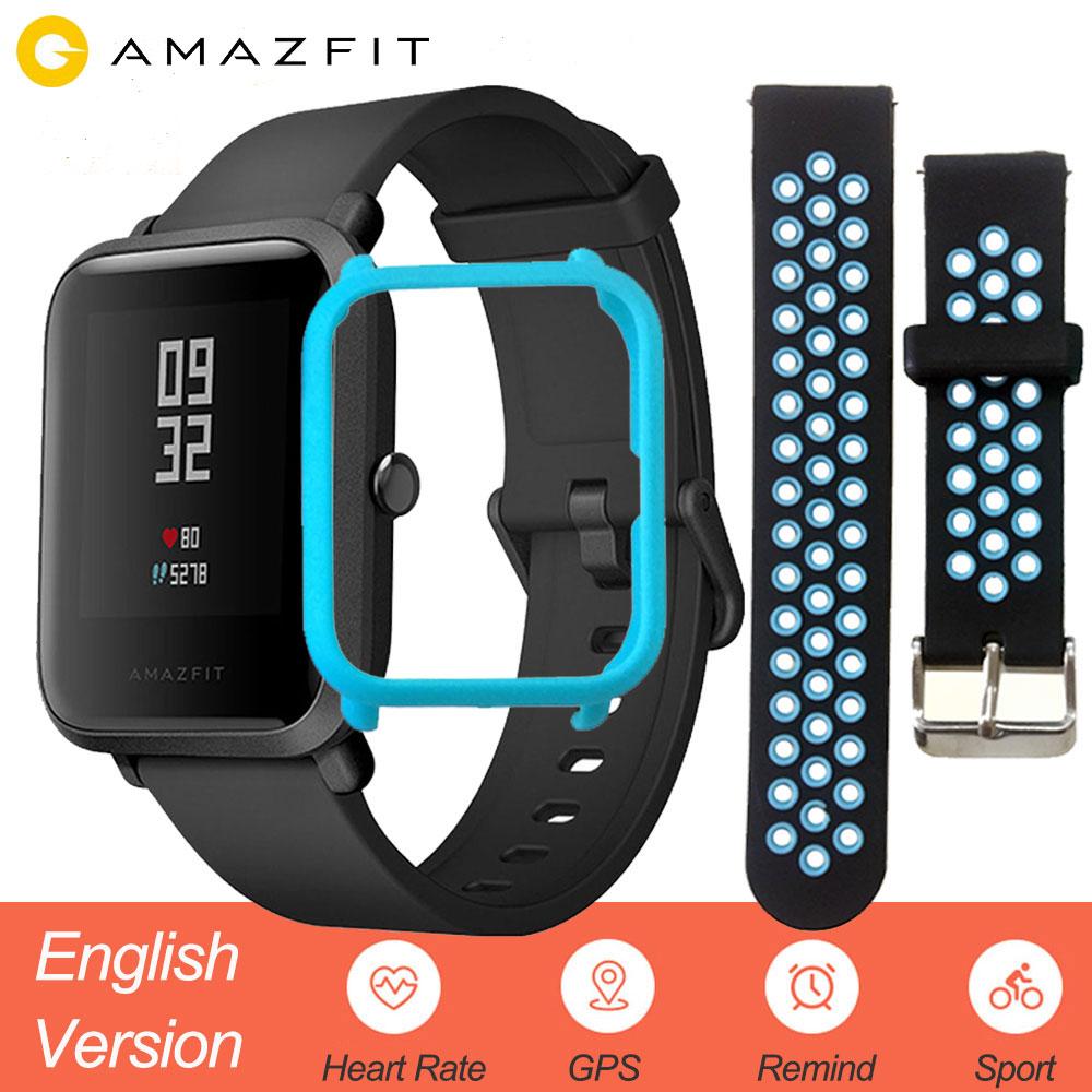Versão inglês Xiao mi Amazônia Pif Homens Hua mi mi Ritmo Smartwatch Relógio Inteligente iOS Android Monitor de Freqüência Cardíaca 45 dias Bateria