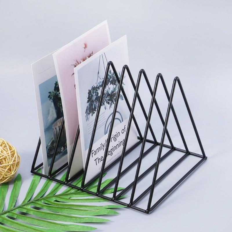 Nordic Triangle Simple Wrought iron Desktop Storage Rack Shelf File Magazine Storage Box Office Rack Stationery