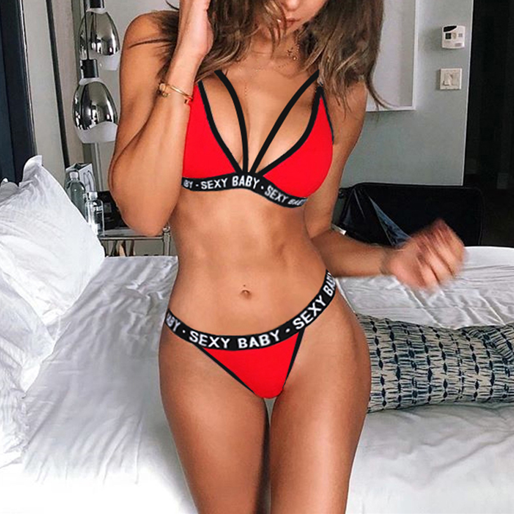 2019 New Women's Sexy Sports Underwear   Set   Girl Sexy Bandage Corset Letter Push Up   Bra  +Thongs Panties Lingerie Summer Style
