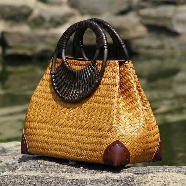 Thai version of the straw bag women's hand bag fashion retro vase vine bag travel beach bag bamboo wood handle handbag