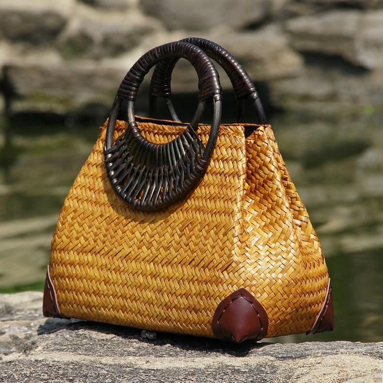 Thai version of the straw bag women's hand bag fashion retro vase vine bag travel beach bag bamboo wood handle handbag