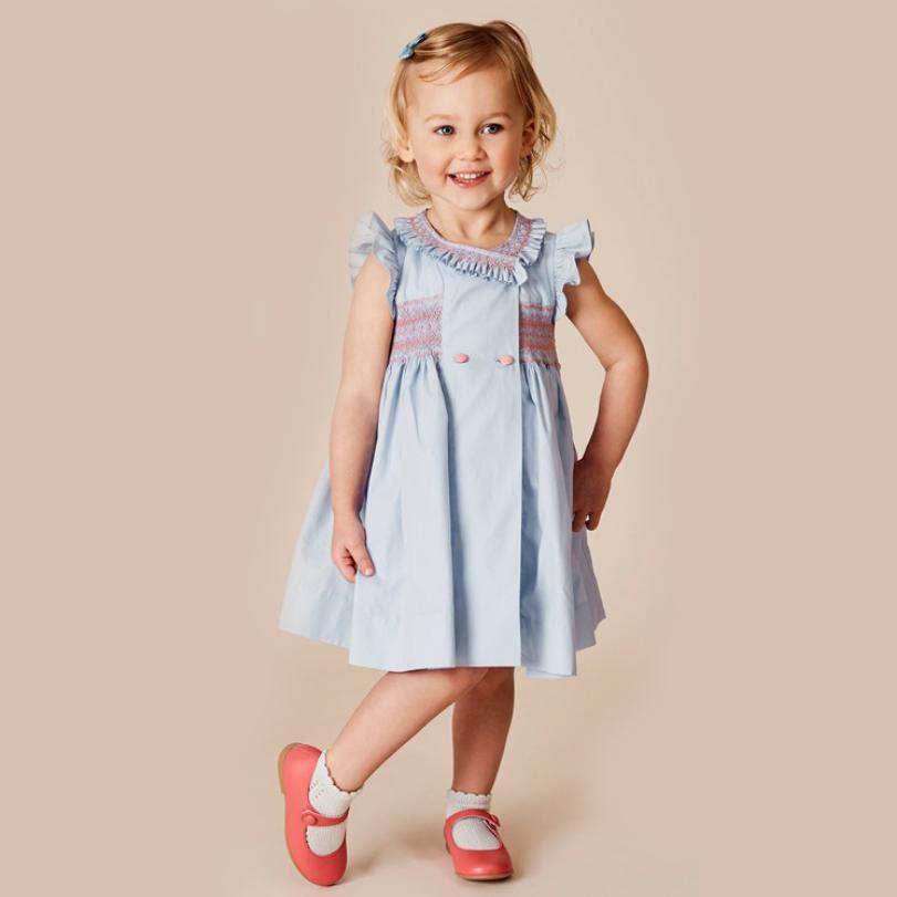 2020 New Spanish Vintege Court Style Girl Dress Baby Summer Girl Dress Party Princess Dress Cotton Kids Clothes Vestidos Y1165