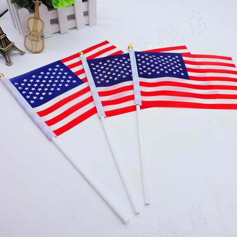 5Pcs/Pack 14*21Cm USA Hand Flag Car Flags American Independence Day Small Cheered Flag United States Small Flag K35