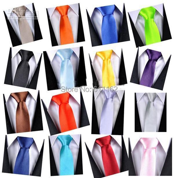 Unisex  Gravatas De Seda Multi-Color Polyester Men Neck Tie Skinny Solid Color Plain Satin Tie Wedding Business Accessories
