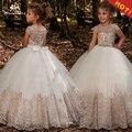 Nueva llegada chicas faja con abalorios bola vestidos de Apliques de encaje de longitud de flores las niñas princesa elegante boda vestidos