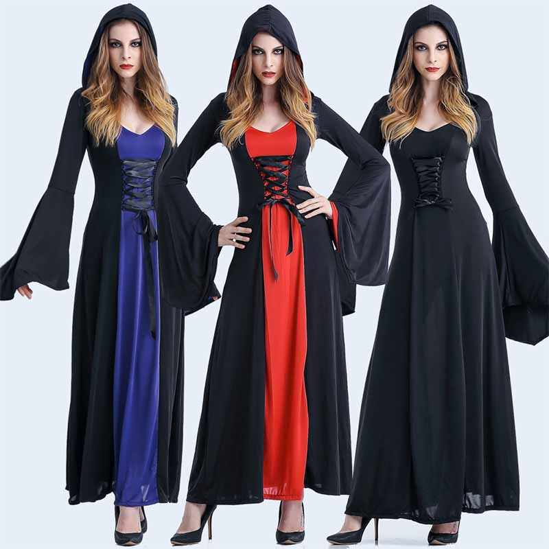 ... Cosplay Wicca Witch Medieval Dress Women Adult Plus Size Ghost Gothic  Wizard Cloak Cape Robe Hooded ... 9796cb294023