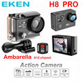 Original Eken H8 Pro Ultra HD 4K 30fps / 1080P 120fps with Ambarella chip A12 go Sport Action Camera H8 Pro Dual Screen camera
