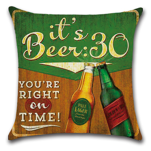 Image 2 - Cartoon Anime Letter Cushion Cover Set British Retro Beer Bottle Printing Linen Pillowcase Car Sofa Bar Farmhouse Home Decor