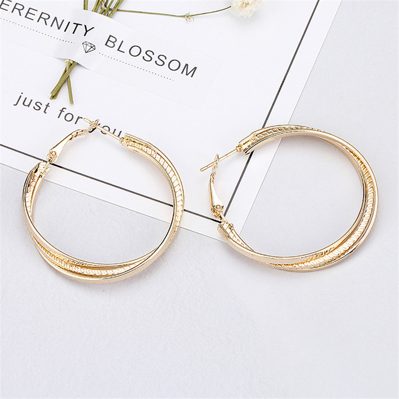 Simple Gold color Big Hoop Earring  4