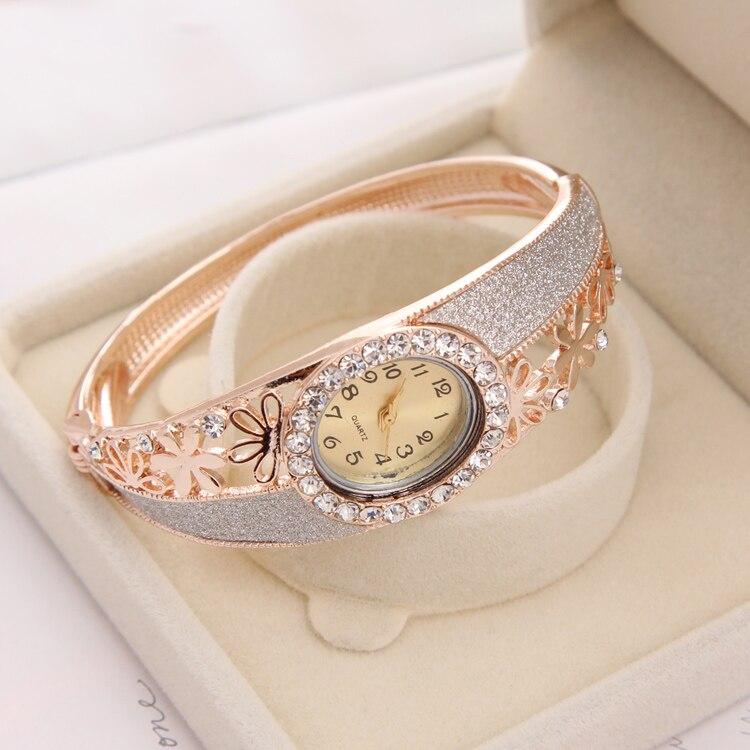 קסם קוורץ שעון שמלת תכשיטי צמיד שעונים גבירותיי שעון שעון נשי שעוני יד זהב מצופה שעונים