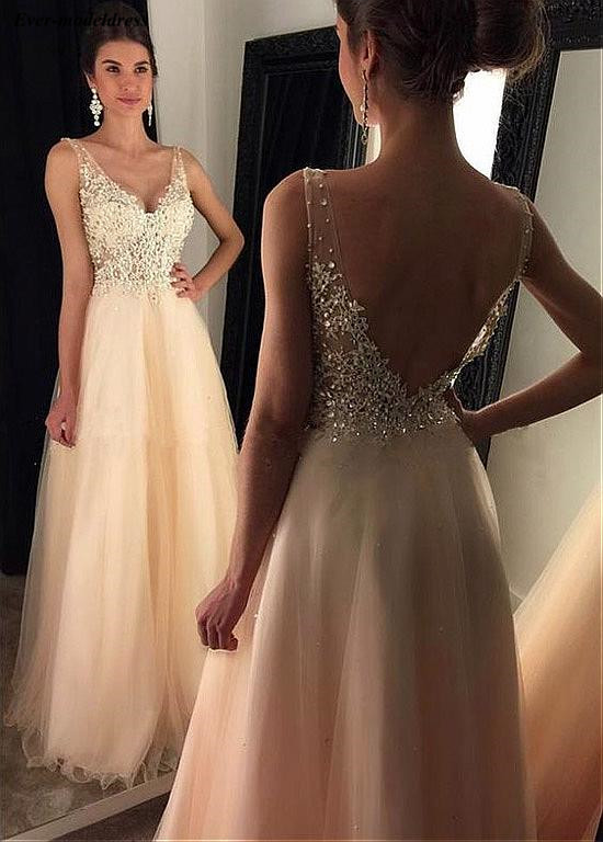 Light Champange   Prom     Dresses   Sexy Backless Lace Appliques Beaded V-Neck Floor Length 2019 Formal Party Gowns Robe De Soiree