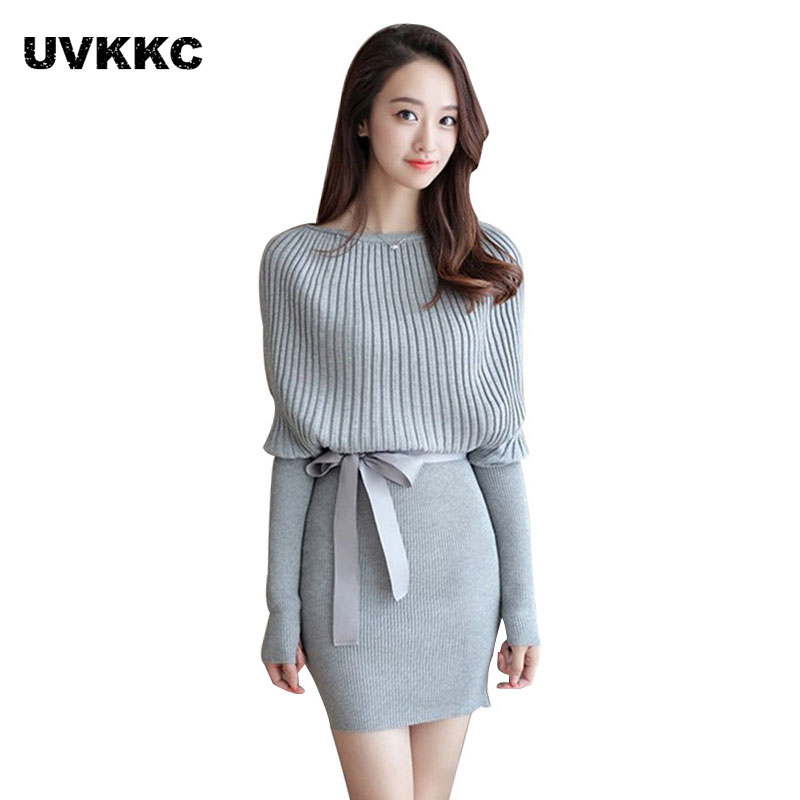 Women knitted sweater dress autumn and winter new fashion style bat sleeve sweater vestidos knit ladies solid slim knit dress autumn and winter new ladies genuine