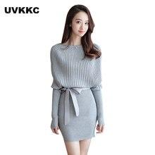 Женский вязаный свитер платье осень и зима новая мода стиль рукава летучая мышь свитер Vestidos вязать Дамы, вязаное платье