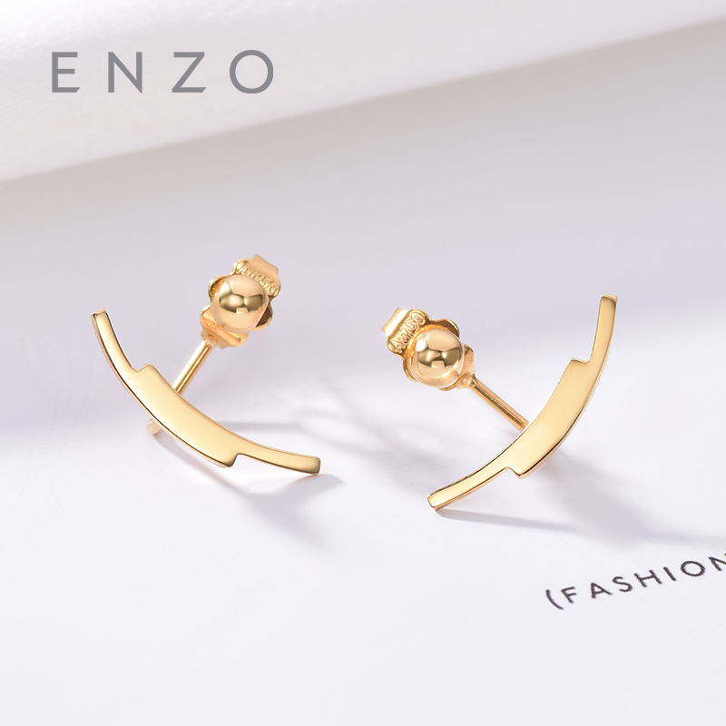 Enzo Pure 18K Gold Jewelry Anchor Earring Women Miss Girls Gift Party Female Stud Earrings Solid Hot Sale New Good Trendy real 18k gold jewelry heart earring women miss girls gift party female ear wire drop earrings solid hot sale new good trendy