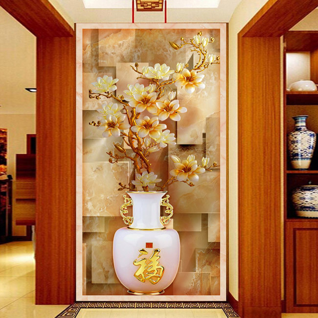 Aliexpress Com Buy Self Adhesive Chinese Entrance Corridor For Stereoscopic 3d Flowers Vase Mural Canvas Background Home Decor Embossed Vase From Reliable