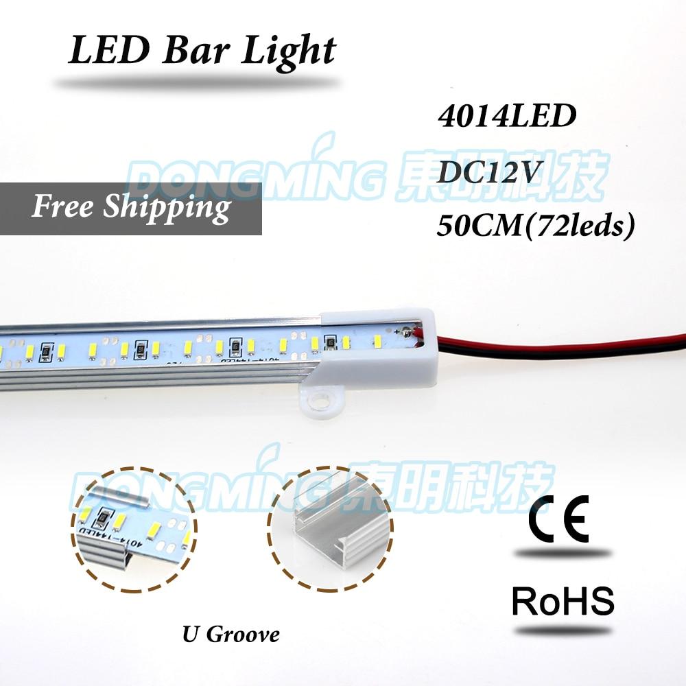 Aluminium U profile 50cm LED bar light 72 leds DC 12V smd 4014 LED luces strip for kitchen wardrobe cupboard cold white