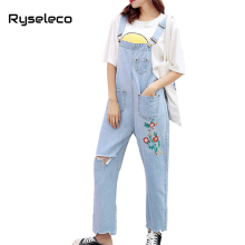 Ryseleco 2018 Spring Women Floral Embroidery Loose Overalls Streetwear Ripped Hole Denim Rompers Wide Leg Pants Destroyed Jeans(China)