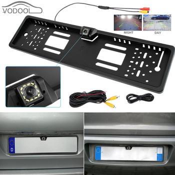 VODOOL กันน้ำยุโรปใบอนุญาตกรอบกล้องด้านหลังรถย้อนกลับที่จอดรถสำรองกระจกมองหลัง 12LED Night Vision Cam