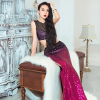 Belly Dance Costume Female Red/Blue Shiny Belly Dance Long Skirt Oriental Dance Performance/Practice Clothes For Women DQL1298