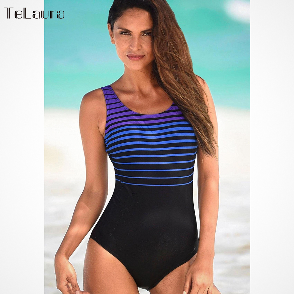 Telaura 2018 One Piece Swimsuit Women Plus Size Swimwear Female Solid  Bathing Suit e81907048