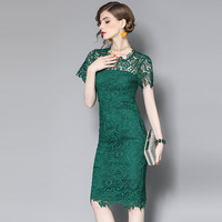 Europe Fashion Designers Summer Dresses For Women 2017 Elegant Ladies Hollow Out Crochet Lace Dress Plus